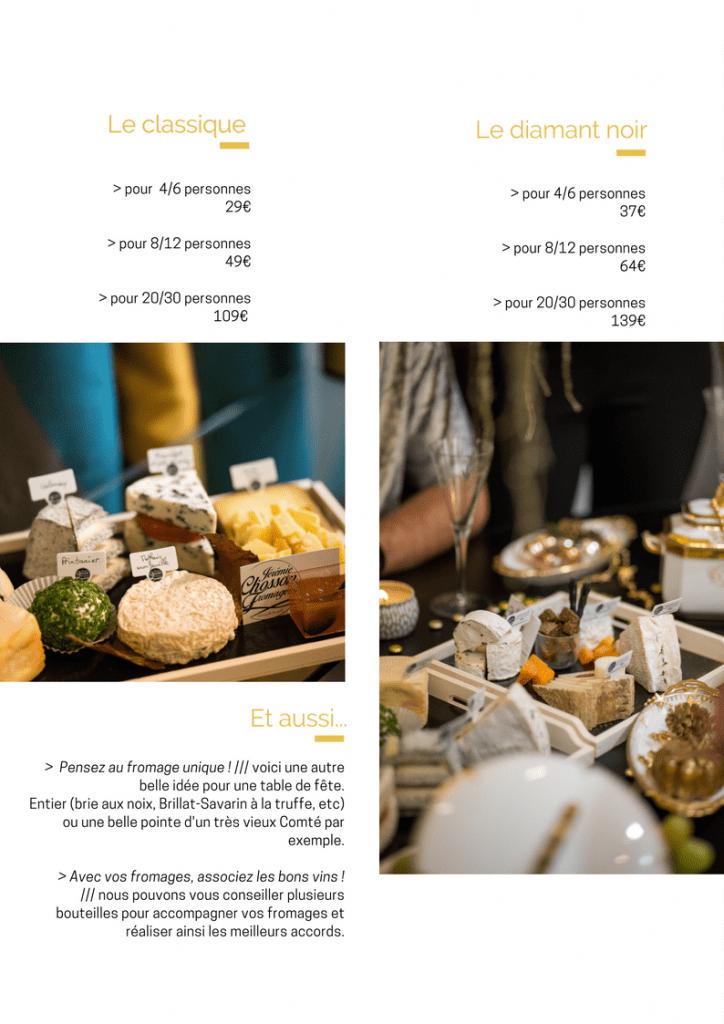 Les tarifs des plateaux de fromages